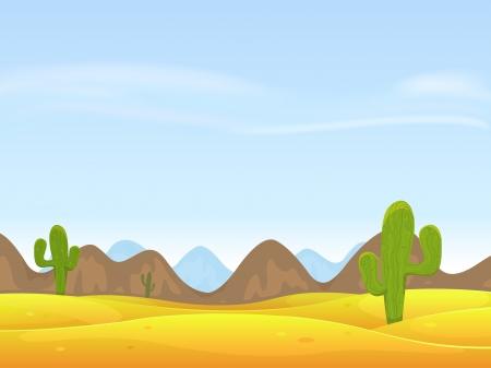 Illustratie van een cartoon woestijnlandschap met cactussen, zandduinen, gebogen bergen variëren over een blauwe hemel