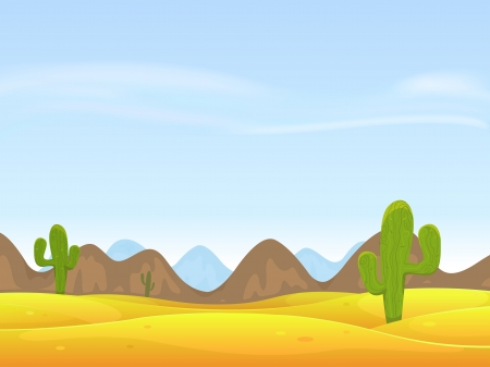 Illustration of a cartoon desert landscape with cactus, sand dunes, curved mountains range over a blue sky