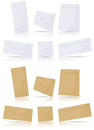 Illustration of a set of icon mail envelopes on various format over white background for email contact symbol, with glossy effect Vector