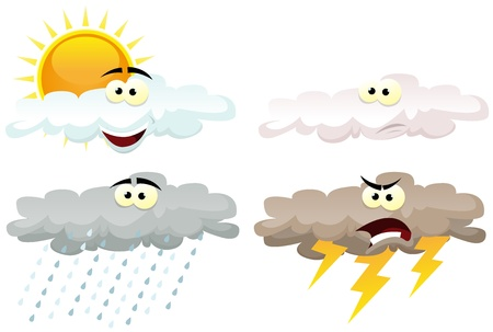 Illustration of a set of various cartoon funny weather symbol icons characters with shining sun, clouds characters, rain and thunder for every season Vector