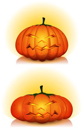Illustration of cartoon jack o'Lantern halloween pumpkins head characters for autumn holidays, with eyes, mouth and nose Stock Vector - 15804187