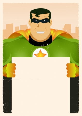 Illustration of a stylized comic green and yellow powerful superhero holding blank advertisement sign with cityscape background behind Illustration