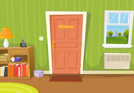 living room window: Illustration of a cartoon home interior with living room door entrance, various household objects and window opened on a spring urban landscape
