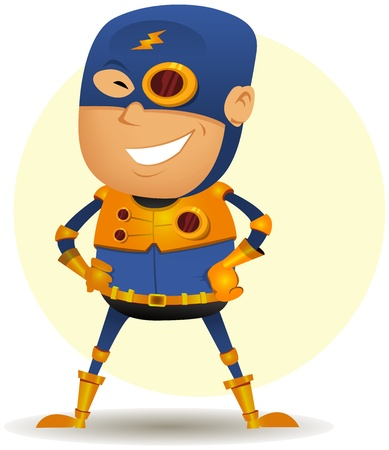 Illustration of a cartoon happy blue masked hero character with gold armor and special weapons