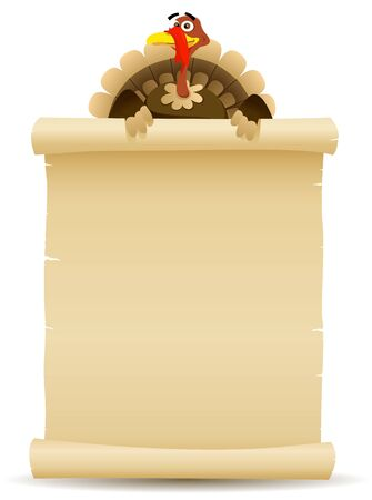 Illustration of a cartoon turkey character holding parchment scroll menu
