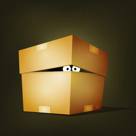 Illustration d'une créature drôle de bande dessinée ou les yeux caractère animal cacher et regarder à l'intérieur d'une boîte en carton de livraison