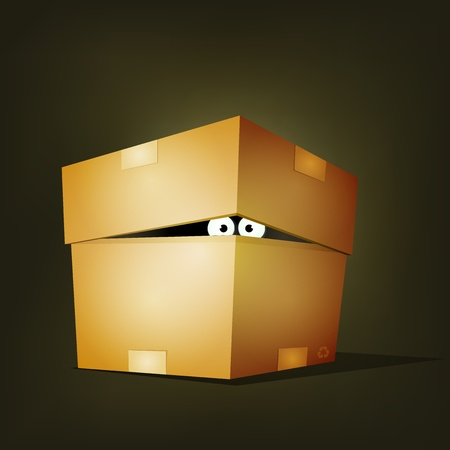 close to: Illustration of a funny cartoon creature or animals character eyes hiding and looking inside a cardboard box delivery