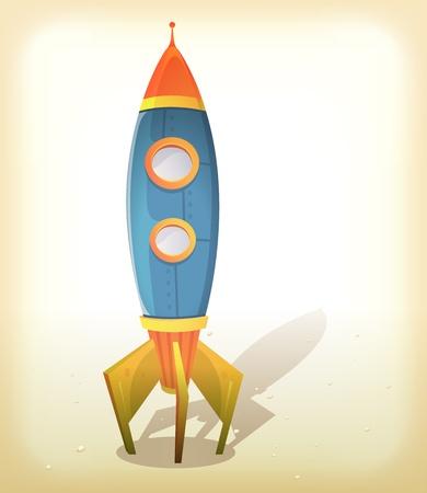 martian: Illustration of a vintage design cartoon spaceship landing on an elegant retro frame background with little rocks on some lunar or martian ground Illustration