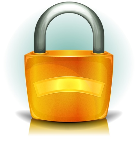 Illustration of a glossy golden iron padlock icon with blank advertisement banner for certified authentication symbol, protection and security system Stock Vector - 15917151