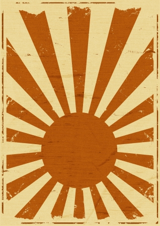 Illustration of a retro vintage japanese flag background poster, symbol for the country of the rising sun Vector