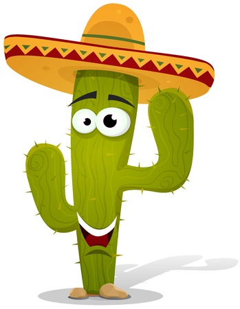 Illustration of a funny cartoon happy mexican desert cactus plant character wearing sombrero