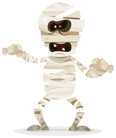 przerażający: Ilustracja cartoon Zabawna i creepy halloween egipskiej mumii charakteru wędrówki, na halloween obchodów święta