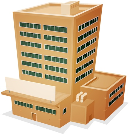 companies: Illustration of a cartoon administrative or factory building tower with blank sign