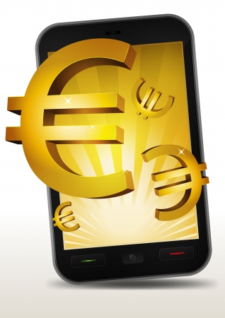 Illustration of a smartphone e-book with golden euros currency bursting from the screen Stock Vector - 16004071