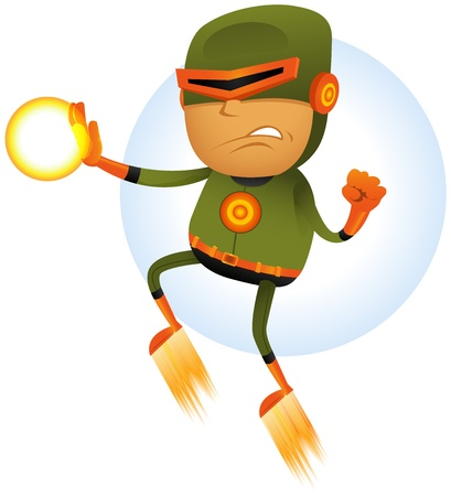 special character: Illustration of a cartoon orange and green masked hero character flying