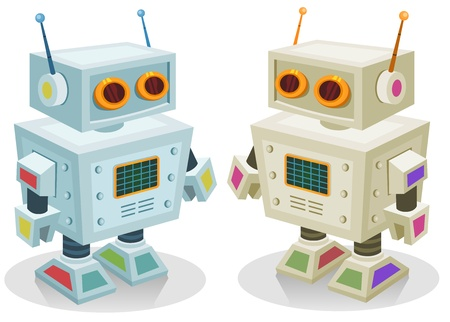 tin robot: Illustration of a couple of cute tiny cartoon robot toy characters in two colors, for children play, christmas or birthday present