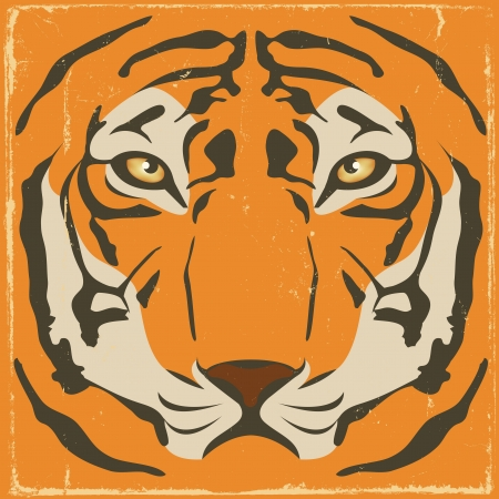 wildcat: Illustration of an elegant tiger head with symmetrical stripes and patterns on a retro vintage background Illustration
