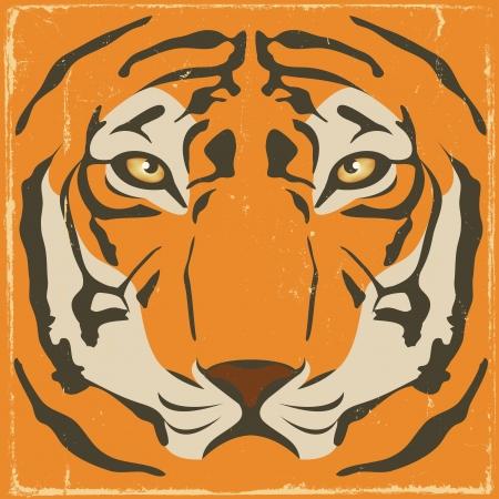 silueta tigre: Ilustración de una cabeza de tigre con rayas simétricas elegante y patrones sobre un fondo retro vintage