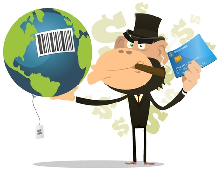 disaster: Illustration of a funny cartoon gorilla businessman crook buying and selling earth with credit card