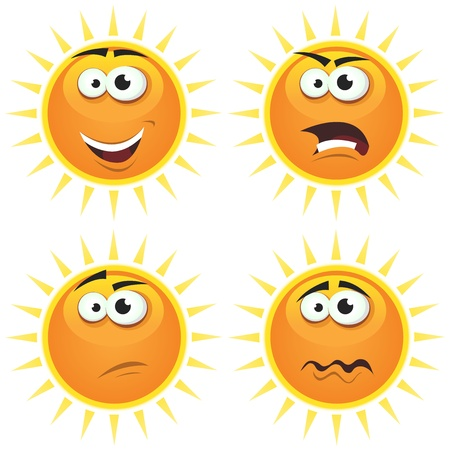 angry sky: Illustration of a set of various cartoon funny sun symbol icons characters with various emotions, happy, angry, doubtful and sadness Illustration