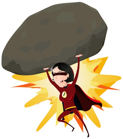 Illustration of a comic red super woman character throwing a big heavy meteorite rock with her arms Vector