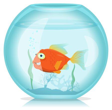 Illustration d'un dessin animé drôle heureux de vivre seul poisson rouge dans l'aquarium Vecteurs