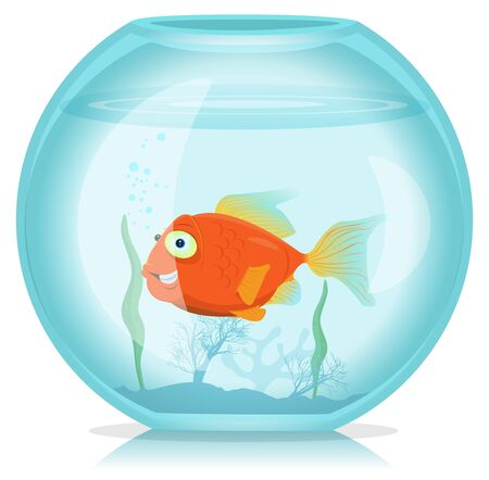 Illustration of a funny cartoon single happy gold fish living in the aquarium Vector