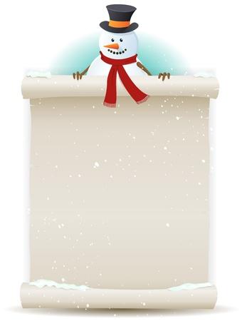 kerstmuts: Illustratie van een cartoon kerstman sneeuwpop karakter houdt wit perkament teken voor kerst en winter vakantie of kinderen geschenk lijst