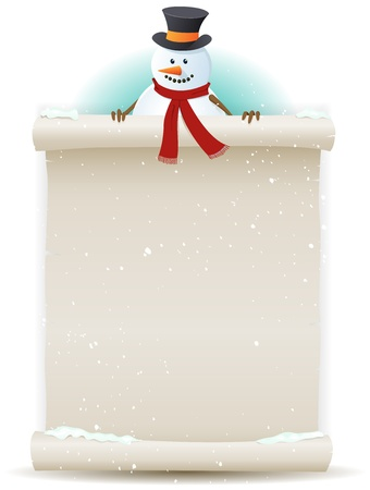 snowman background: Illustration of a cartoon Santa snowman character holding white parchment sign for christmas and winter holidays or children gift list