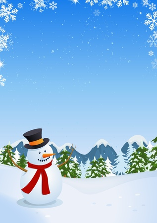 Illustration of a vertical poster with cartoon snowman inside winter landscape made of pine trees, firs, mountains and copy space for your message Vector