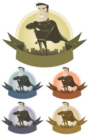 beefy: Illustration of a set of awesome vintage comic superhero power and security banners with cityscape background