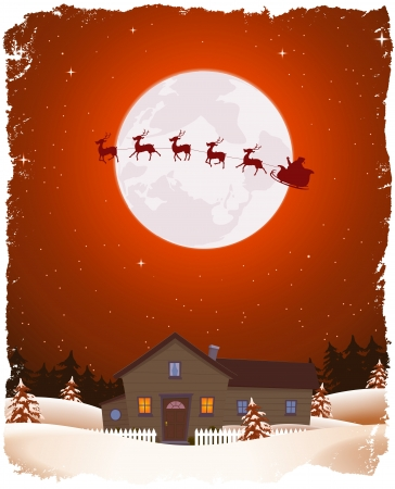 Illustration of a cartoon portrait christmas winter landscape with house, snow, pine trees forest and flying santa claus sleigh and his reindeers in the moonlight Stock Vector - 16367377