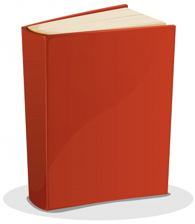 book background: Illustration of a cartoon standing blank red covered book isolated on white background Illustration