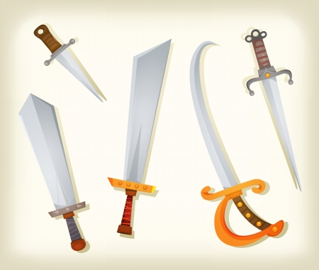 Illustration of a vintage set of cartoon swords, broadsword, saber, knifes, and other old cold steel weapons equipment for knight and pirates