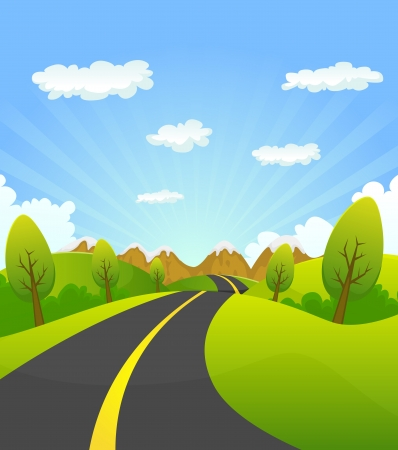 clouds cartoon: Illustration of a cartoon summer or spring country road travelling to mountains landscape, for vacations, travel and seasonal holidays background