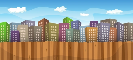Illustration of a cartoon big cityscape background with various colored buildings, wooden fence foreground and sky and cloudscape behind Vector