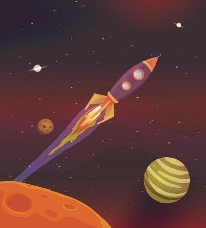 brandweer cartoon: Illustratie van een cartoon raket ruimteschip vliegen in melkweg onder planeten en het zonnestelsel