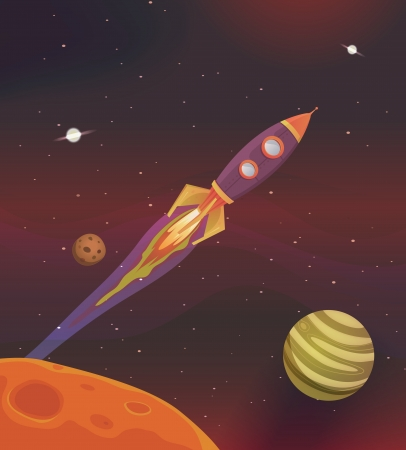 Illustration of a cartoon rocket spaceship flying into galaxy among planets and solar system Vector
