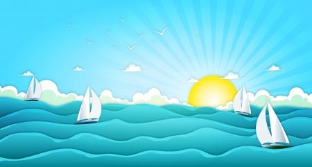 갈매기, 거친 바다, 거품과 밝은 햇살을 포함한 봄 또는 여름 휴가 휴가를위한 요트와 세일링 보트와 만화 넓은 바다 풍경의 그림