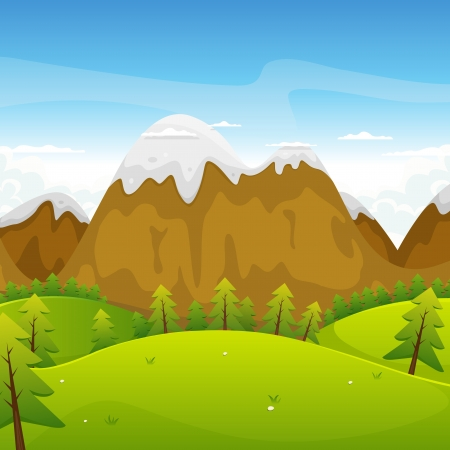 Illustration of a cartoon summer or spring high mountain landscape for vacations, travel and seasonal holidays background Vector