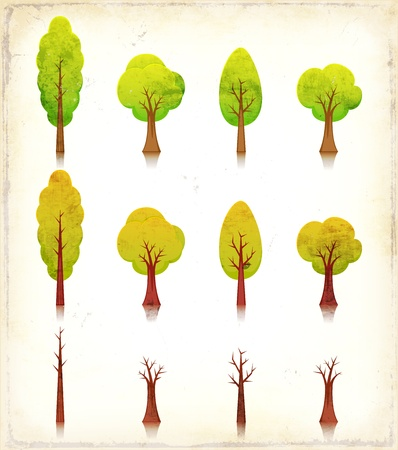 plant with roots: Illustration of a set of vintage grunge textured cartoon simple trees icons, in spring and summer, autumn and winter season