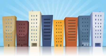 Illustration of a cartoon row of various cityscape buildings with reflection effect on the ground Vector