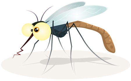 Illustration of a funny cartoon thirsty mosquito insect character with bloody proboscis Illustration
