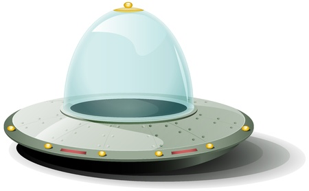 Illustration of a cartoon rounded spaceship landing on the ground Vector