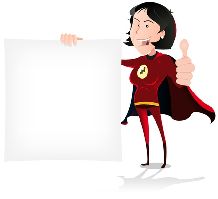 Illustration of a happy cartoon super woman hero character holding white advertisement sign Vector
