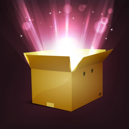 Illustration of a cartoon cardboard package, for christmas or birthday holidays, with shiny bright magic light rays rising from the box, stars and light blurs effect Vector