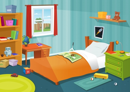 Illustration of a cartoon children bedroom with boy or girl lifestyle elements, toys, bed, books, desk, bookshelf, teddy bear Ilustração