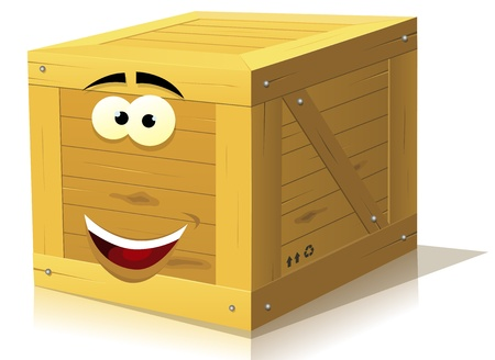 closed mouth: Illustration of a funny cartoon wooden box character happy and smiling Illustration