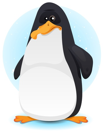 south pole: Illustration of a cartoon tiny penguin character on winter pack ice