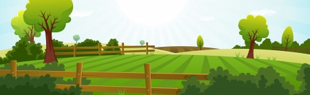 Illustration of a spring or summer season agriculture and farming wide landscape with fields, pasture, meadows, hedges, fences, trees, lawn and grass for dairy cows Vector